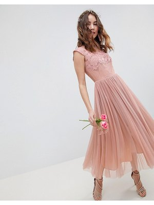 ASOS DESIGN bridesmaid embroidered mesh midi dress