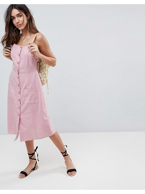 ASOS Button Through Linen Midi Sundress