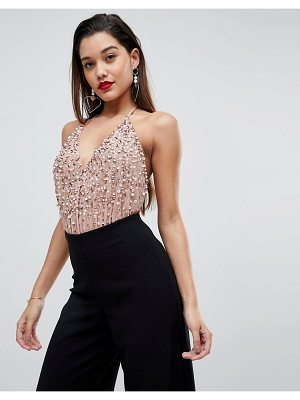 Asos Cami Body In Sequin Embellishment with Back Strap