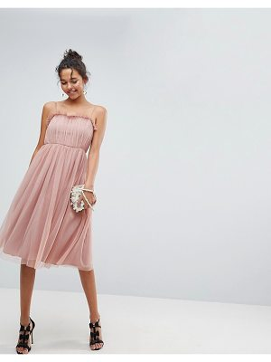 Asos ASOS Cami Tulle Midi Dress with Pretty Ruffle