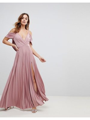 Asos ASOS Cold Shoulder Cowl Back Pleated Maxi Dress