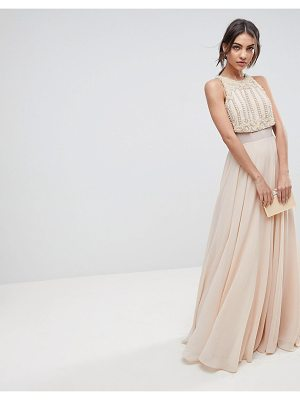Asos Crop Top Maxi Dress With Pearl Embellishment