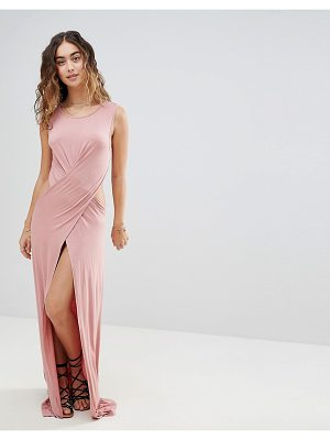 Asos ASOS Cross Front Split Jersey Maxi Beach Dress