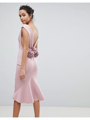 Asos Deep Plunge Corsage Back Pephem Midi Bodycon Dress