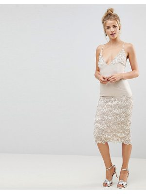 ASOS DESIGN asos delicate placement lace cami midi pencil dress