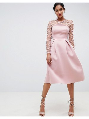 Asos DESIGN 3D floral lace bandeau scuba prom midi dress