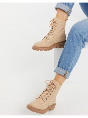 ASOS DESIGN amy quilted lace up boots in beige