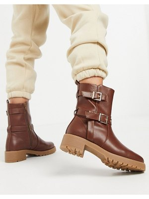 ASOS DESIGN asha pull on trucker boots in brown