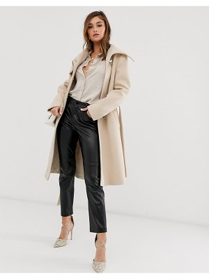 ASOS DESIGN asymmetric collar skater coat in cream
