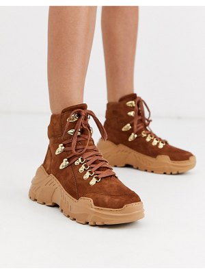 ASOS DESIGN atlas premium leather sporty hiker boots in tan