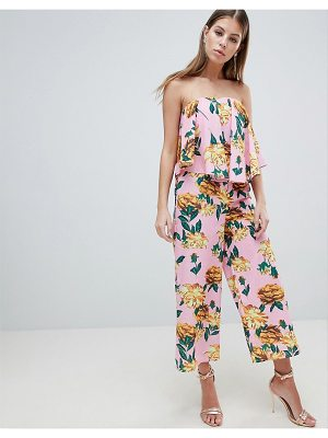 Asos Bandeau Jumpsuit With Drape Detail In Pink Floral