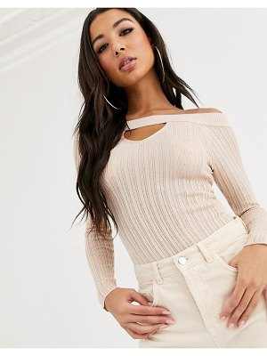 ASOS DESIGN bardot bodysuit with cut out detail-beige