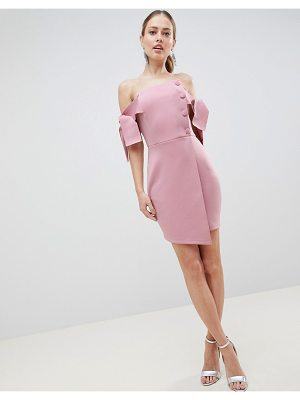Asos bardot tie sleeve button wrap mini dress