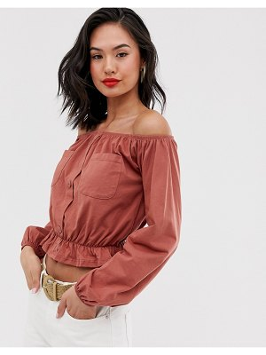 ASOS DESIGN bardot top with utility pockets-pink