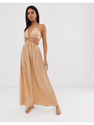 ASOS DESIGN beach maxi dress with cut out waist & braid strapping in neutral