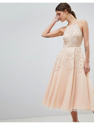 ASOS DESIGN beaded backless midi dress