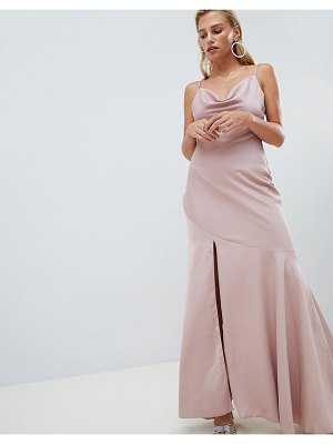 Asos bias cut satin slip maxi dress with drape neck