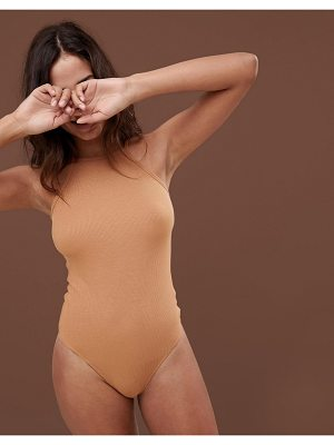 Asos body with high square neck in rib in golden