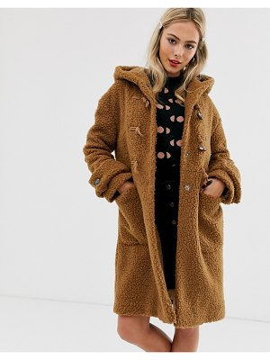ASOS DESIGN borg hooded duffle coat in brown