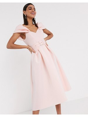 ASOS DESIGN bow sleeve belted prom midi dress in rose pink