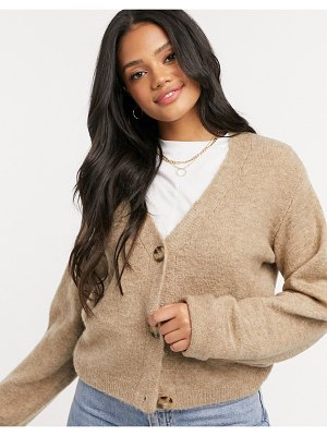 ASOS DESIGN boxy cardigan with cocktail cuffs in taupe-stone