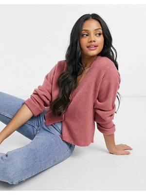 ASOS DESIGN boxy cardigan with turn-up cuffs in dusky pink