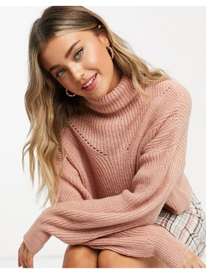 ASOS DESIGN boxy high neck sweater in dusky pink