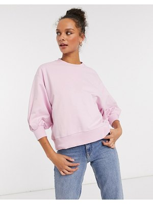 ASOS DESIGN boxy sweatshirt with wide sleeve in pink