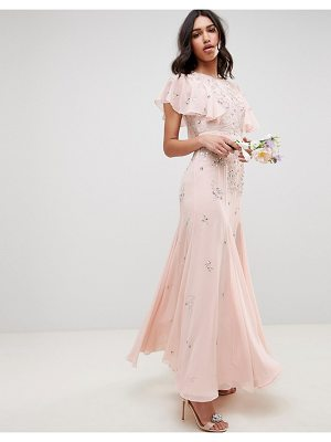 Asos bridesmaid embellished maxi dress with angel sleeve