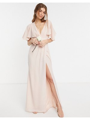 ASOS DESIGN bridesmaid flutter sleeve maxi dress with satin trim detail and wrap skirt-pink