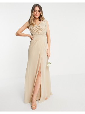 ASOS DESIGN bridesmaid linear embellished cowl front maxi dress-neutral