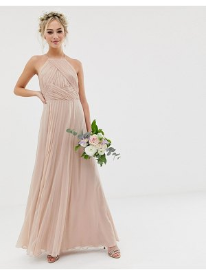 ASOS DESIGN bridesmaid pinny maxi dress with ruched bodice-pink