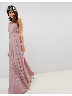 Asos Bridesmaid Pleated Paneled Cami Maxi Dress With Lace Inserts