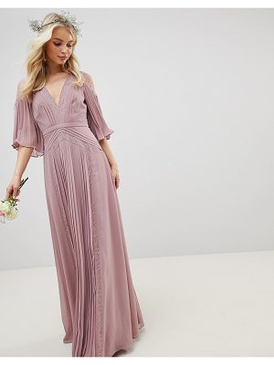 Asos Bridesmaid pleated paneled flutter sleeve maxi dress with lace inserts