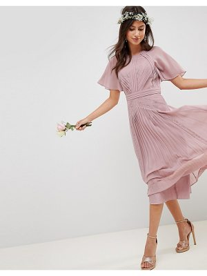 ASOS DESIGN bridesmaid pleated paneled short sleeve midi dress with lace inserts
