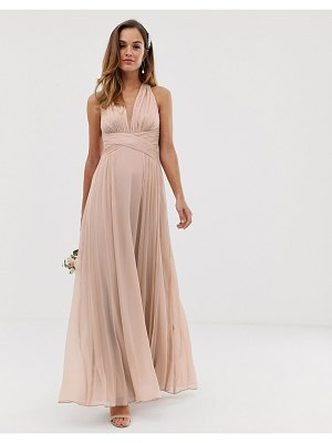 ASOS DESIGN bridesmaid ruched bodice drape maxi dress with wrap waist-beige