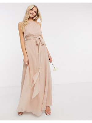 ASOS DESIGN bridesmaid ruched pinny maxi dress with tie waist detail in blush-pink