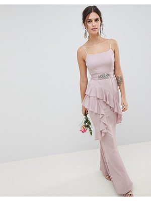 ASOS DESIGN bridesmaid ruffle cami maxi dress with embellished belt