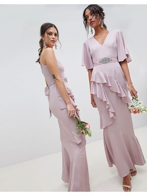 ASOS DESIGN bridesmaid ruffle flutter sleeve maxi dress with embellished belt