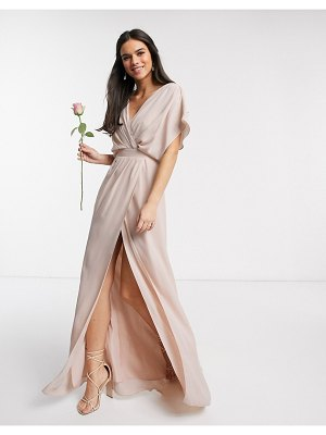 ASOS DESIGN bridesmaid short sleeved cowl front maxi dress with button back detail in blush-pink