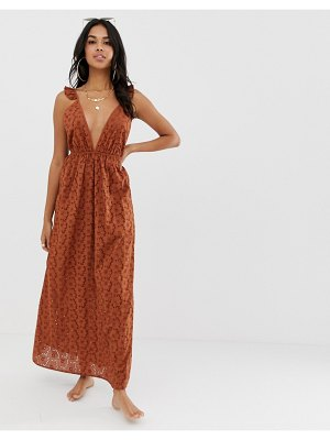 ASOS DESIGN broderie frill plunge maxi beach dress in 70s brown
