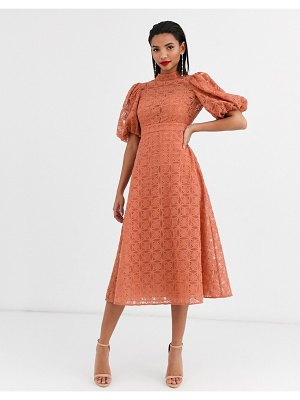 ASOS DESIGN broderie organza midi skater dress with puff sleeves in terracotta-pink
