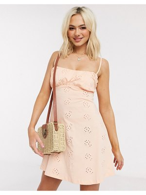 ASOS DESIGN broderie ruched front mini strappy dress in peach-pink