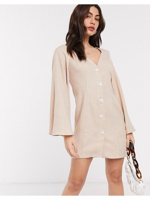 ASOS DESIGN button through linen look mini dress with fluted sleeve in stone-beige