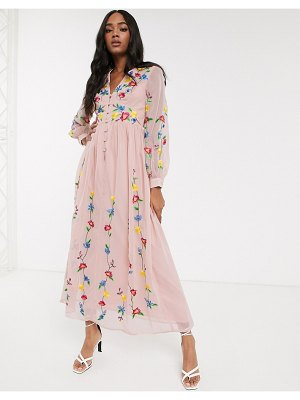 ASOS DESIGN button through maxi dress in trailing floral embroidery in pink