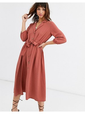 ASOS DESIGN button through midi shirt dress with ruched waist-pink