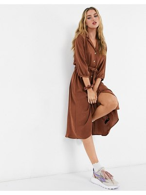 ASOS DESIGN button through midi shirt dress with ruched waist in brown