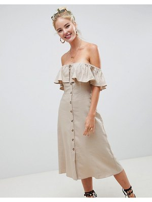 Asos button through off the shoulder midi dress with frill
