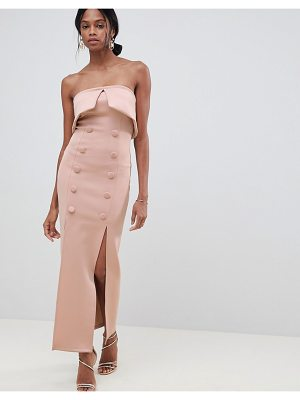 Asos Button Tux Scuba Bandeau Maxi Dress