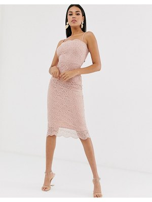 ASOS DESIGN cami lace midi pencil dress-pink